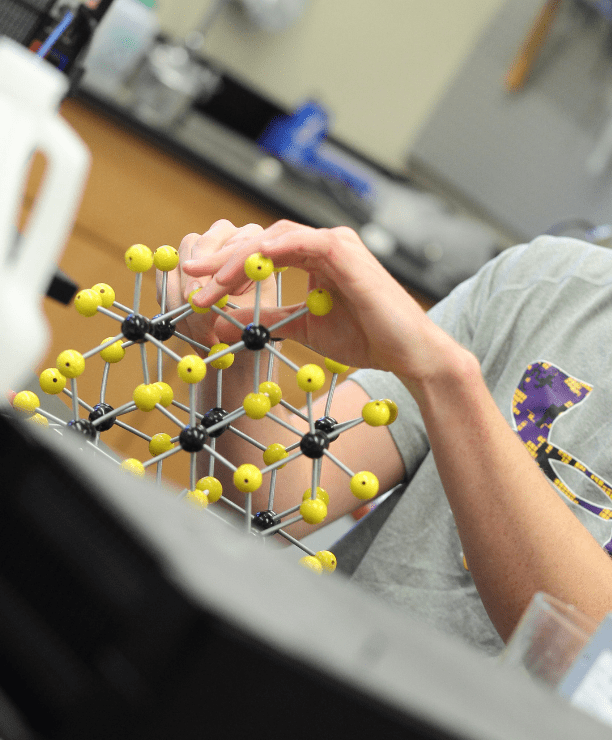 a person holds a physics model