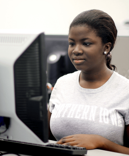 a student uses a computer