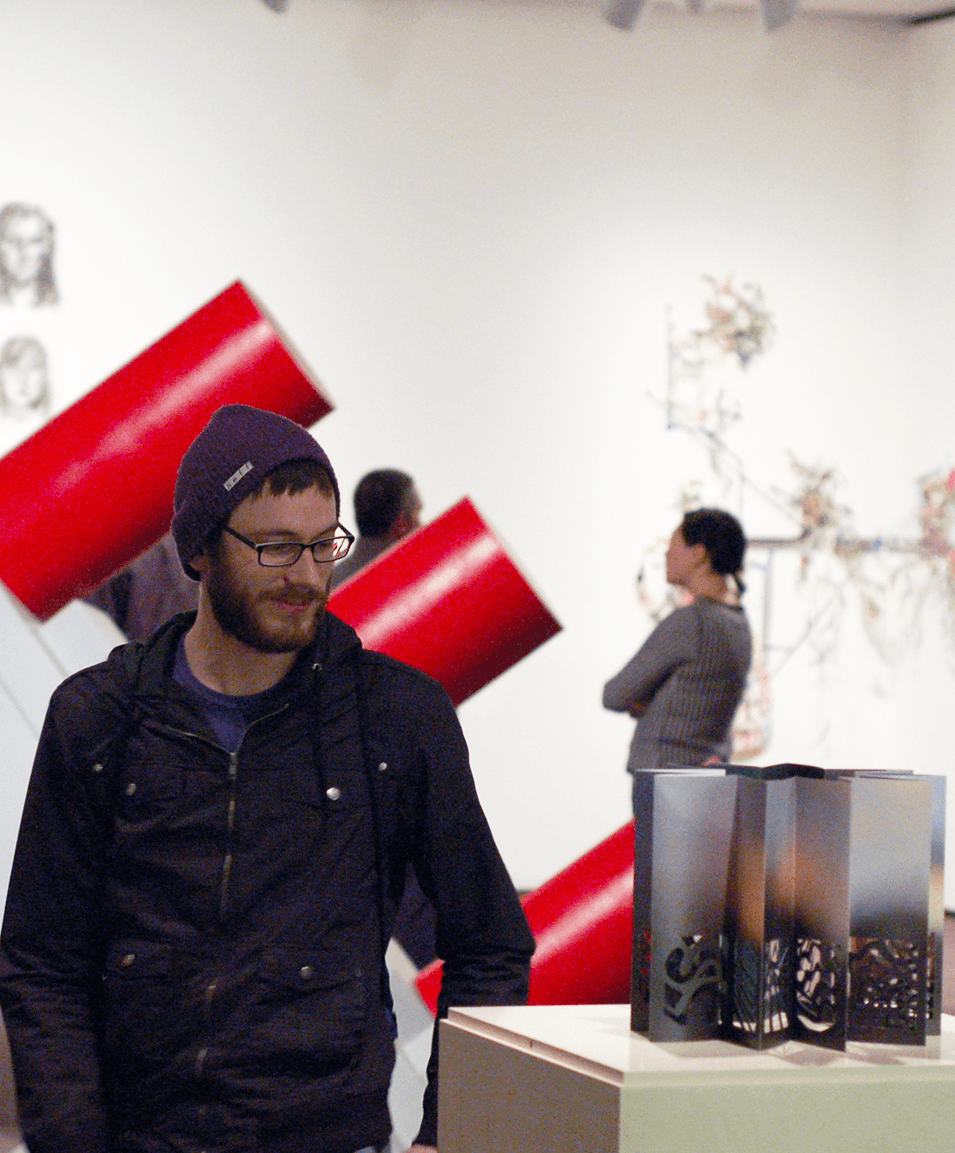 student in a gallery