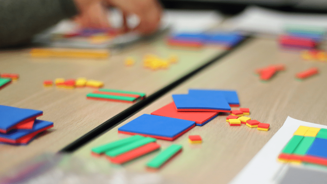 desk scattere with math blocks